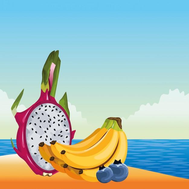 Caricature d'icône de fruits tropicaux exotiques Vecteur gratuit
