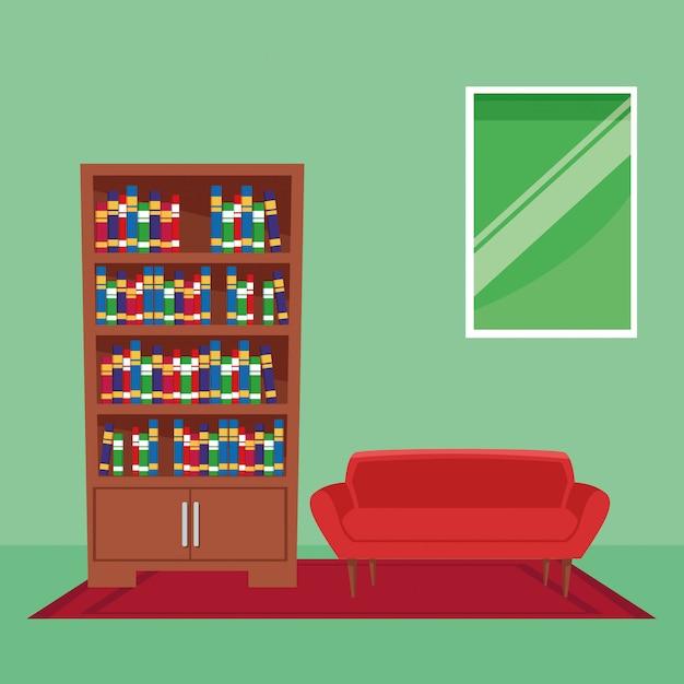 Caricature d'icône intérieur maison meubles Vecteur gratuit