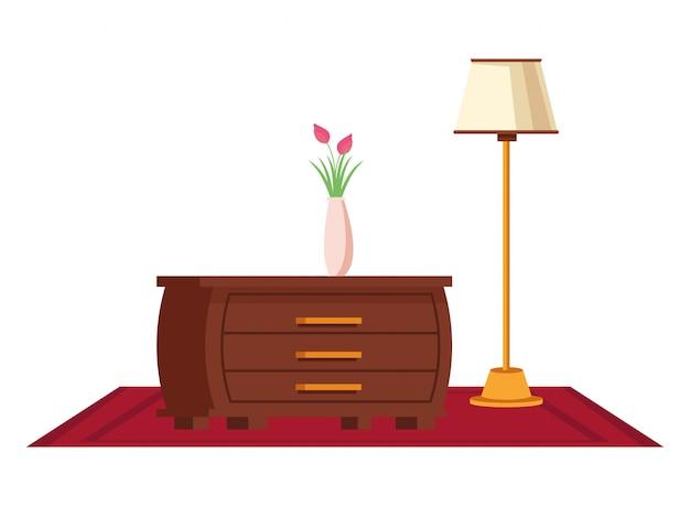 Caricature d'icône intérieur maison meubles Vecteur Premium