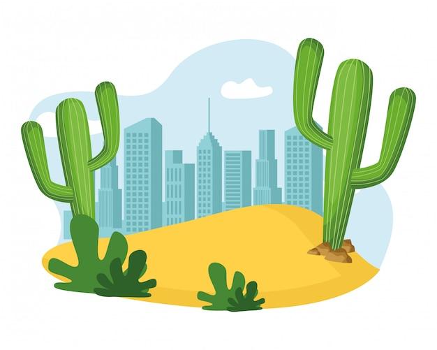 Caricature d'icône plante et cactus de sable Vecteur gratuit
