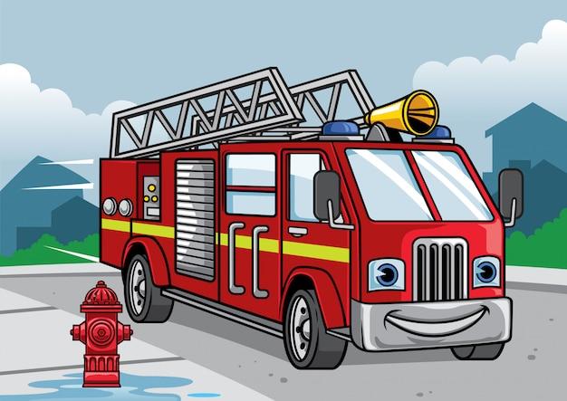 Caricature De L'illustration De Camion De Pompier Vecteur Premium
