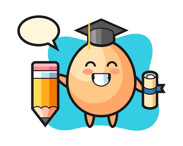 Caricature D'illustration D'oeuf Est L'obtention Du Diplôme Avec Un Crayon Géant, Style Mignon Pour T-shirt, Autocollant, élément De Logo Vecteur Premium