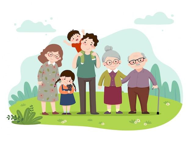 Caricature D'illustration Vectorielle D'une Famille Heureuse Dans Le Parc. Mère, Père, Grands-parents Et Enfants Avec Un Chat. Gens De Vecteur. Vecteur Premium