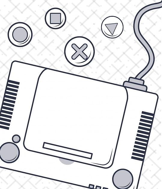 Caricature de jeu vidéo vintage Vecteur Premium