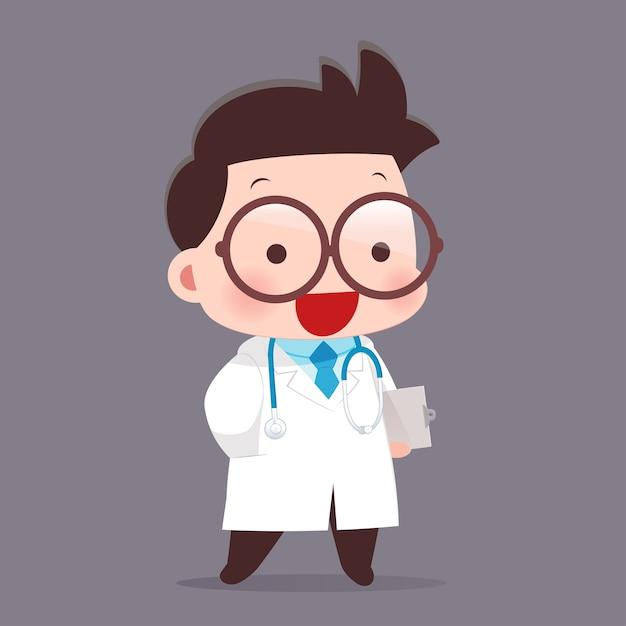 Caricature de jeune homme médecin en blouse blanche Vecteur Premium