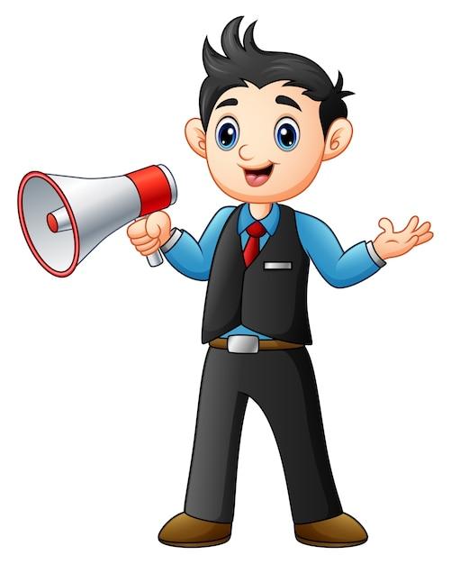 Caricature de jeune homme tenant un mégaphone Vecteur Premium