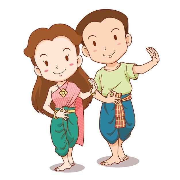 Caricature de joli couple de danseurs traditionnels thaïlandais Vecteur Premium