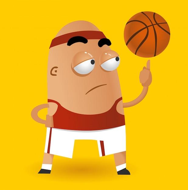 Caricature de joueur de basket-ball Vecteur Premium