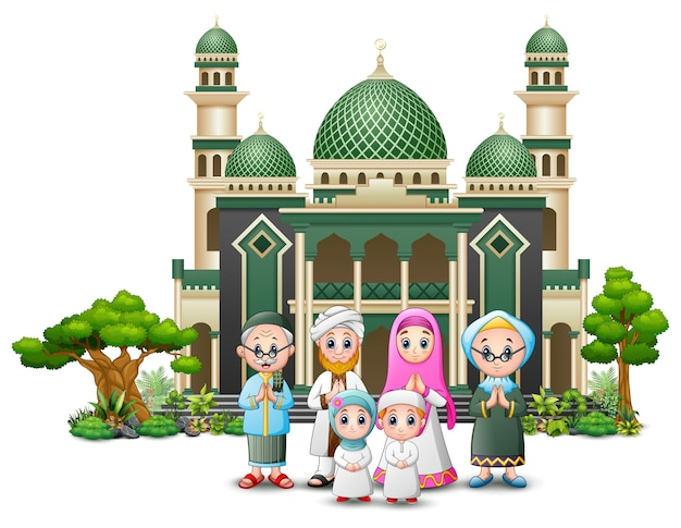 Caricature de joyeux enfants islamiques jouant devant une mosquée Vecteur Premium