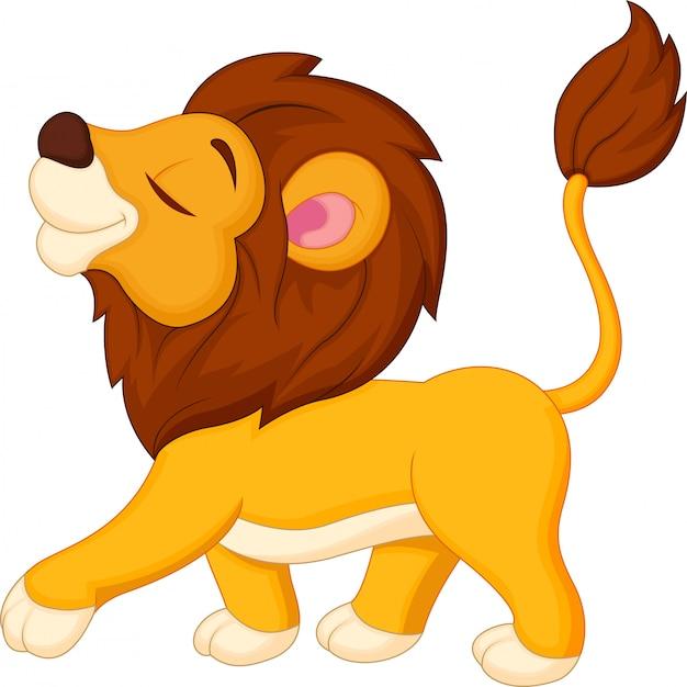 Caricature de lion marchant Vecteur Premium