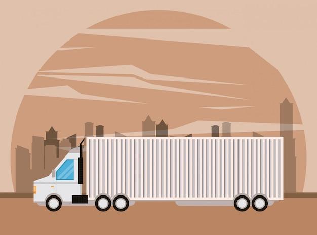 Caricature de livraison de marchandises logistique camion Vecteur gratuit