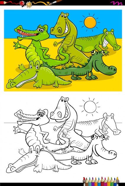 Caricature de livre de coloriage de crocodiles Vecteur Premium
