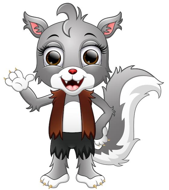 Caricature de loup-garou agitant la main Vecteur Premium
