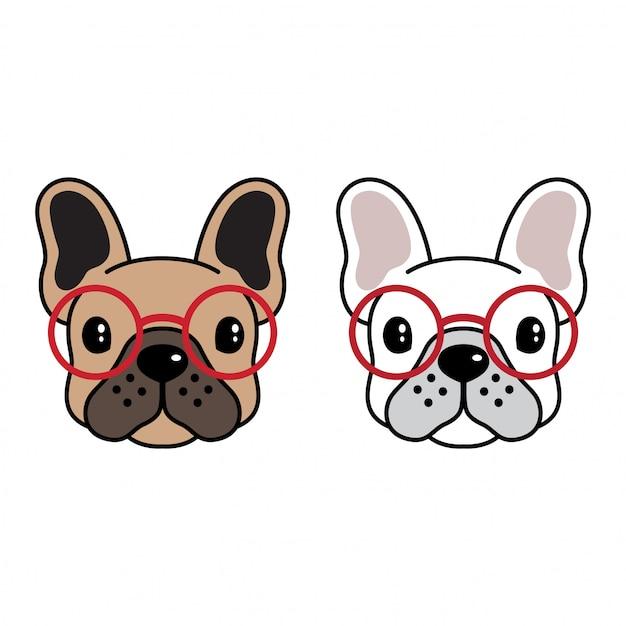 Caricature de lunettes de soleil bulldog français Vecteur Premium