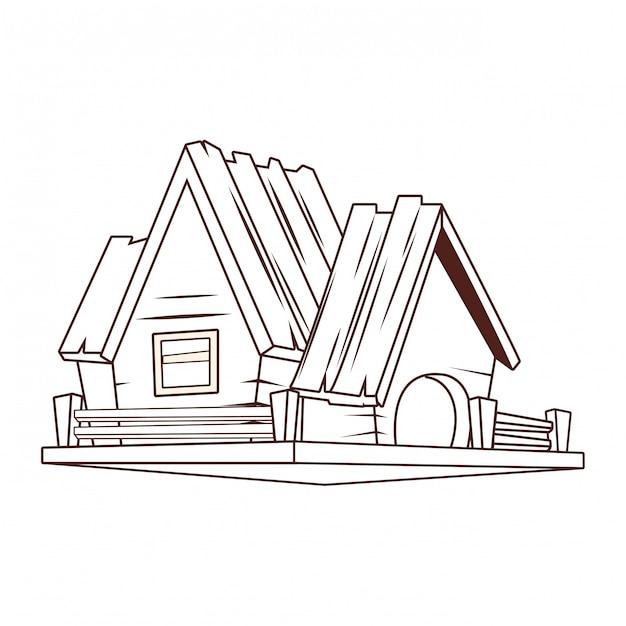 Caricature de maison en bois Vecteur Premium