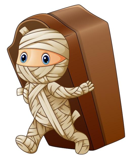 Caricature de maman promenades portant le cercueil Vecteur Premium