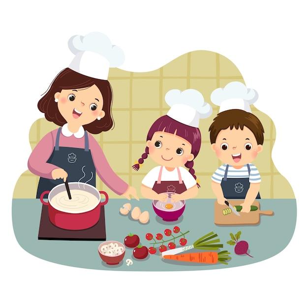 Caricature De La Mère Et Des Enfants Cuisinant Au Comptoir De La Cuisine. Enfants Faisant Des Tâches Ménagères Au Concept De La Maison. Vecteur Premium