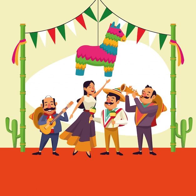 Caricature mexicaine de cinco de mayo Vecteur Premium