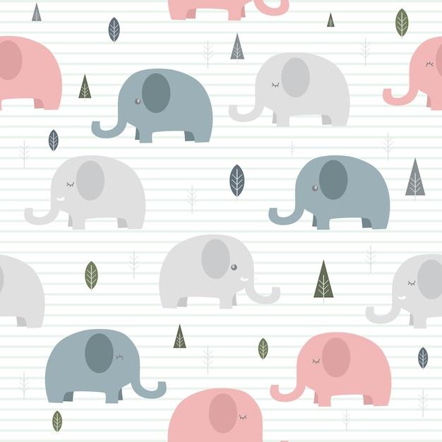 Caricature Mignonne Adorable Elephant Sur Fond D Ecran Sans