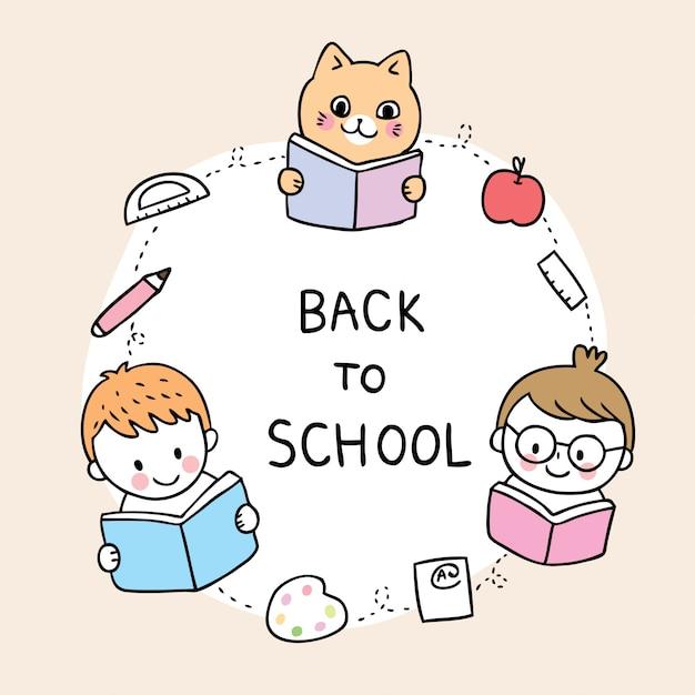 Caricature mignonne à l'école et livre de lecture Vecteur Premium