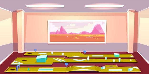 Caricature de mini golf en salle. différentes lignes de putting avec obstacles et trou dans la pièce Vecteur gratuit