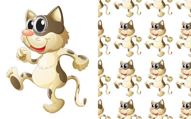Caricature de modèle animal chat sans soudure Vecteur gratuit