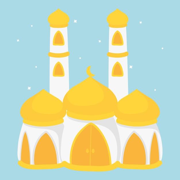 Caricature De La Mosquée Islamique. Mosquée Blanche Avec Dôme Jaune Avec Deux Hauts Minarets. Vecteur Premium