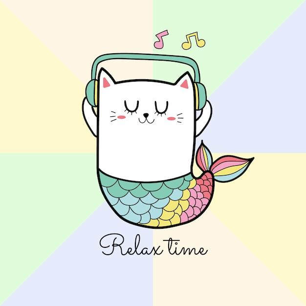 Caricature de musique écoute chat mignon sirène Vecteur Premium