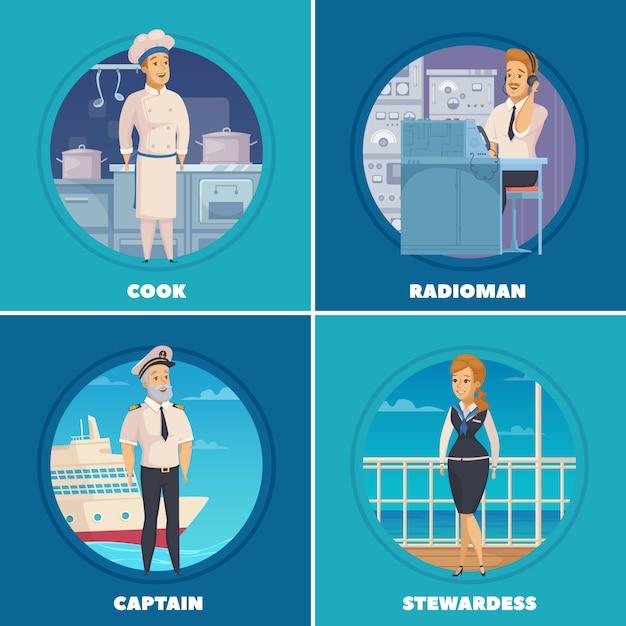 Caricature de navire de croisière yacht personnages 4 icônes de dessin animé carrés avec capitaine cuisinier radioman isolé Vecteur gratuit