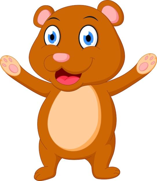 Caricature De L'ours Brun Heureux Vecteur Premium