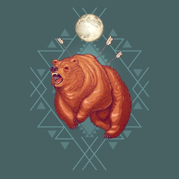 Caricature de l'ourson furieux Vecteur gratuit