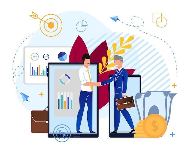 Caricature des partenariats dans les fonds d'investissement Vecteur Premium