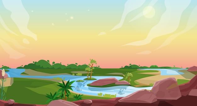 Caricature De Paysage Nature Vecteur Premium