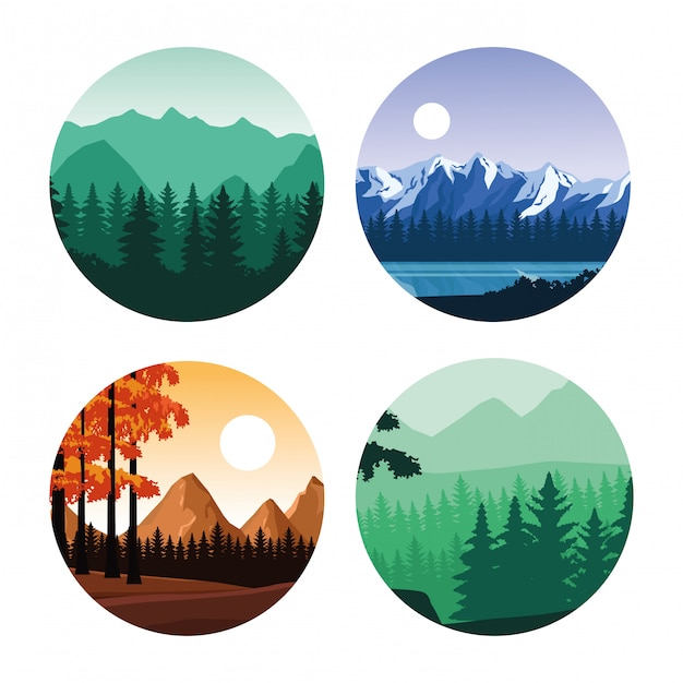 Caricature de paysages wanderlust Vecteur Premium