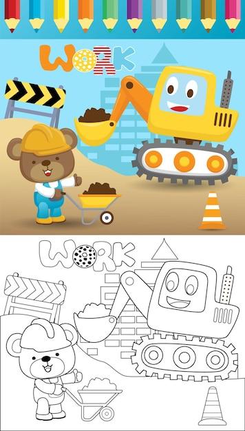 Caricature De Pelle Drôle Avec Un Petit Ours Dans Un Processus De Construction, Livre De Coloriage Ou Page Vecteur Premium