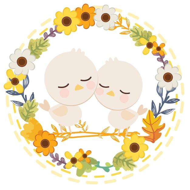 Caricature de personnage de mignon lapin blanc assis dans la fleur. Vecteur Premium