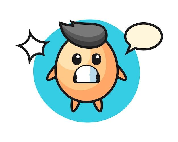 Caricature De Personnage D'oeuf Avec Un Geste Choqué, Style Mignon Pour T-shirt, Autocollant, élément De Logo Vecteur Premium