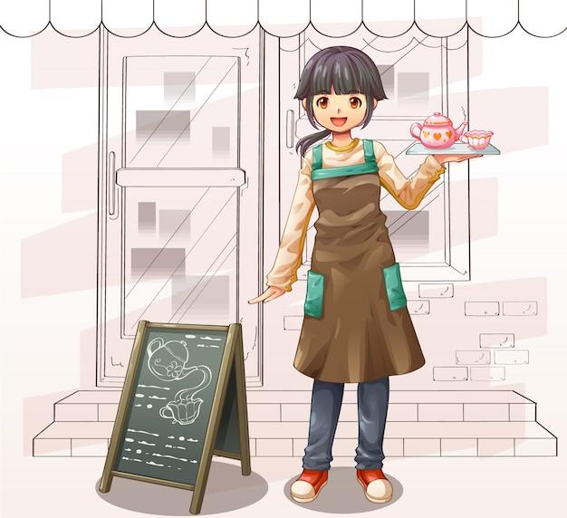 Caricature de personnage de vecteur de serveuse et café Vecteur Premium
