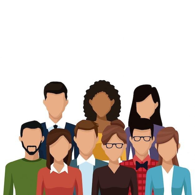 Caricature de personnes et d'amis caricature de jeunes couple Vecteur Premium