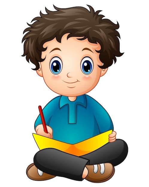 Caricature de petit garçon, écrire un livre Vecteur Premium