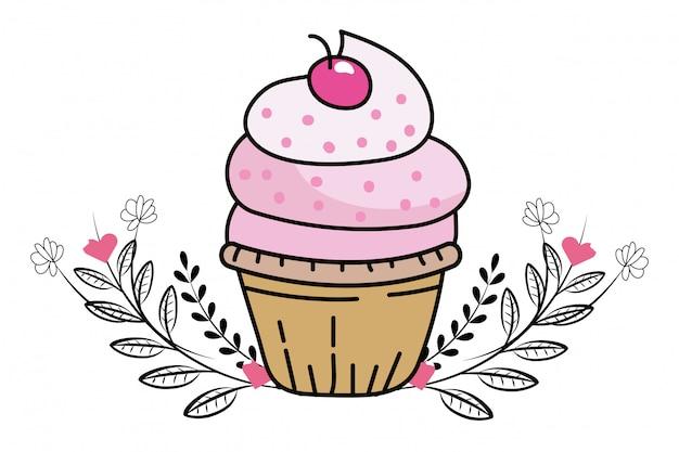 Caricature de petit gâteau de boulangerie Vecteur Premium