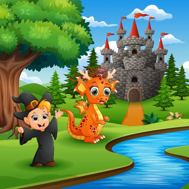 Caricature de petite sorcière et dragon dans le parc Vecteur Premium