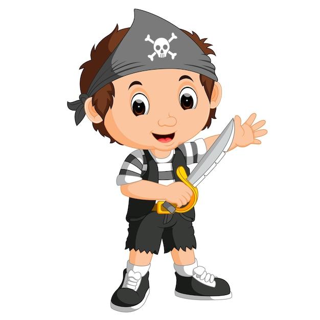 Caricature de pirate garçon enfant Vecteur Premium