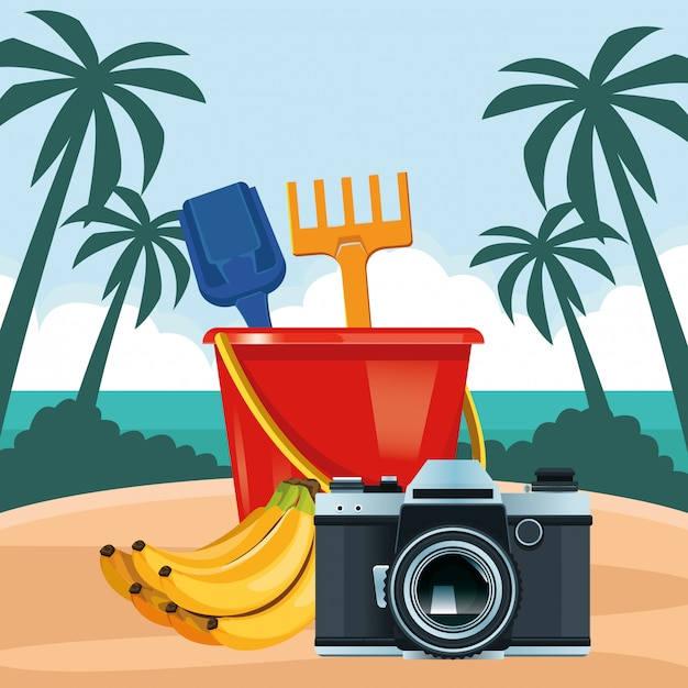 Caricature de plage et vacances d'été Vecteur gratuit
