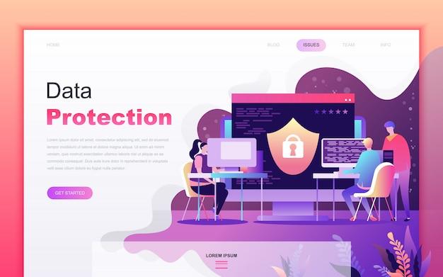 Caricature plat moderne de la protection des données Vecteur Premium