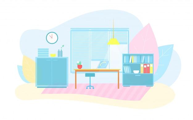 Caricature plate intérieure de bureau intelligent écologique Vecteur Premium
