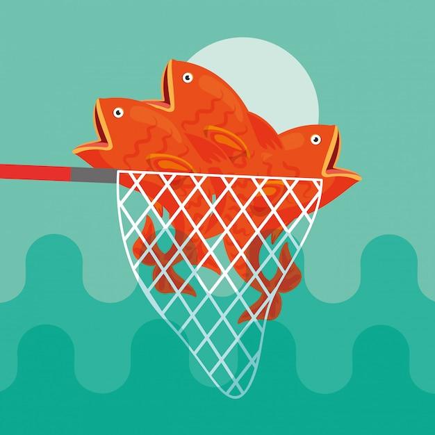 Caricature de poisson de pêche Vecteur Premium