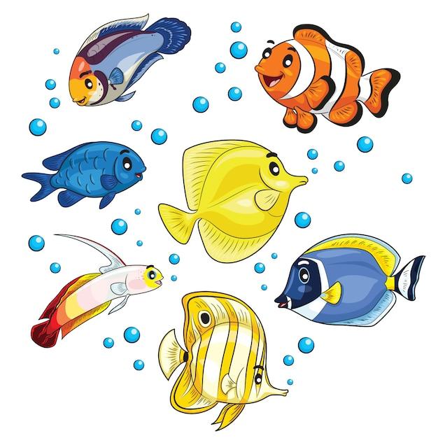 Caricature de poissons tropicaux Vecteur Premium