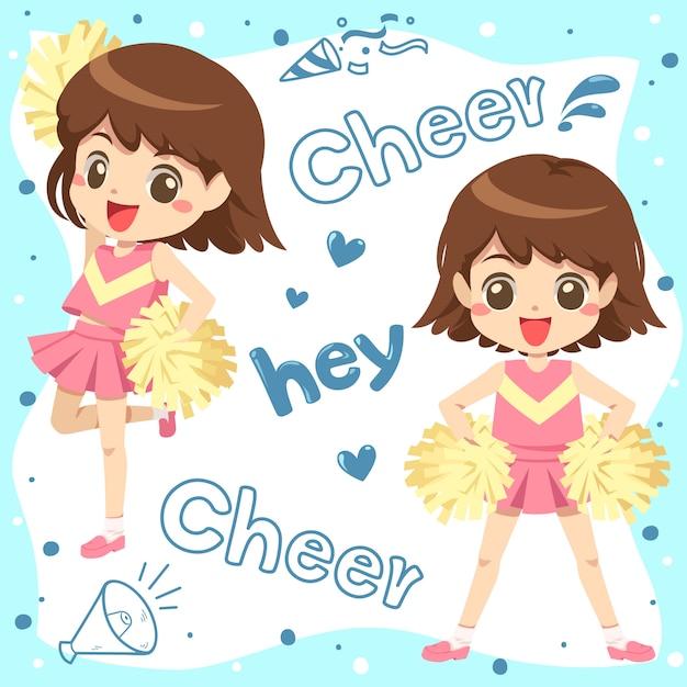 Caricature de pom-pom girl Vecteur Premium