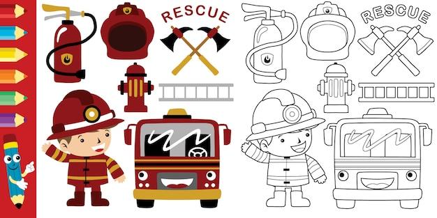 Caricature De Pompier Avec Des Outils D'équipement De Pompier Vecteur Premium